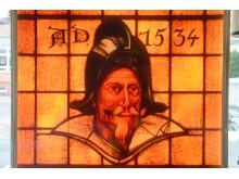 Fenster der Krostitzer Brauerei mit dem Porträt Gustav II. Adolfs