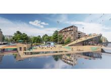 Det nya ländmärket och kallbadet i tävlingsförslaget Koolkajen för Inre hamnen i Norrköping