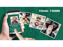Schyssta julkort med 7-Eleven och Friends