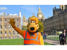 Horace waving with Big Ben