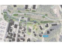 Illustrasjon av plan for utvidelse av Byen på Maihaugen