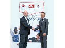 Müller CMO Michael Inpong with GB Taekwondo Director Steve Flynn