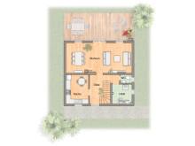 """Grundriss Erdgeschoss des Massivhaus """"Flair 113"""""""