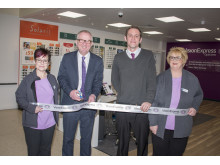 The 'Vision Express at Tesco' Dudley store team with MP Ian Austin, from L to R: Debbie Simpson Optical Assistant, Ian Austin MP for Dudley North, Craig Lewis Store Manager, Glynis Hampton Optical Assistant.