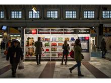 MatHems virtuella butik på Centralstationen i Stockholm