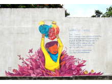 "Muralmålning ""Wake up Suecos"" i San Jose, Costa RIca."