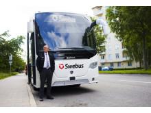 Front på Swebus nya bussar från Scania