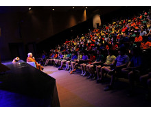 Ajahn Brahm speaks to elementary students about service