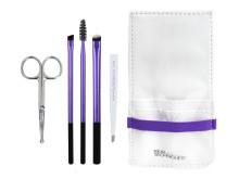Brow set innehåller verktyg för att trimma, fylla i, definiera,  forma och highlighta ögonbrynen.