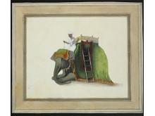 Portræt af en elefant med en elefantpasser, ca. 1800