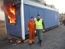 Zenergys VD och Fabrikschef under brandtesten