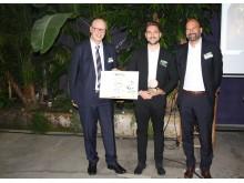 Platz 3 Lyreco Nachhaltigkeitspreis, v.l.: Olaf Dubbert (Lyreco), Fabian Häusler (Dräxlmeier Group), Marc Gebauer (Lyreco)