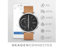 SKAGEN Connected Titanium and Leather Lysbrun Hybrid Smartklokke. Pris 2295,-