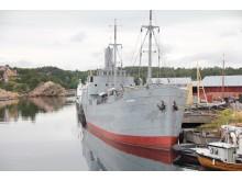 """Der norwegische Frachter """"DS Hestmanden"""" nach seiner 25-jährigen Restauration."""