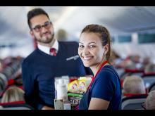 Norwegian cabin crew on board Boeing 737-800