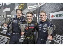 Topptrion i junior-SM 2016. Fr.v: Philip hall (tvåa), Linus Lundqvist (mästare), Hugo Nerman (trea). Foto: Daniel Ahlgren/STCC