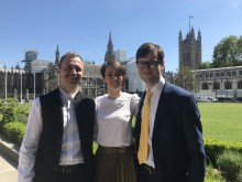 Silver Santé Study reserachers (left to right), Marco Schlosser, Harriet Demnitz-King and Tim Whitfield, of University College London, who attended the Mindfulness APPG meeting on Ageing Well and Older People.