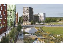 Stad möter natur med en kaj mot det gröna och landningsbanan som aktivitetsyta. Barkarbystaden, Järfälla. Visionsbild 2030.