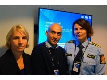 Seksjonsleder Janne Helgesen (t.v), førstelektor Jay Ganapathy og avdelingsleder Siw Thokle