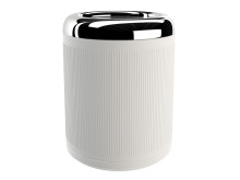 Pomd`or_x_Rosenthal_Equilibrium_Waste_bin_white_Rips_Chrome