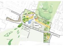 Relationskarta - bostäder, badhus och park.