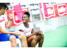 Müller brand ambassadors Dina Asher-Smith and Adam Gemili