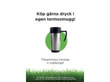 Skylt för kaféer och restauranger. Att att ladda ner på goteborg.se/forebyggavfall