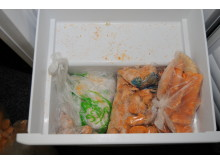 Iqbal Haji's freezer drawer where cash was found hidden amongst chicken nuggets