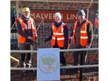 Smiling volunteers at Malvern Link station.