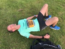 Justin Phillips of Whitecross Vets recovers after completing the Simplyhealth Great North Run in 1 hour 30 mins