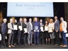 Vinnare Årets Affärsnätverkare 2015 Ola Serneke tillsammans med juryn och de nominerade