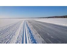 Skidspår och skridskobana på Siljan utanför Rättvik