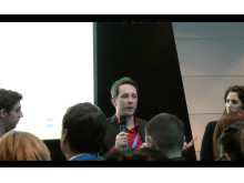 Mynewsdesk CMO Adam Cranfield talking integrating social media campaigns during SMWF Europe