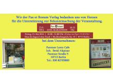 Wir der Pax et Bonum Verlag bedanken uns von Herzen bei Paretzer Lotto Cafe für die Unterstützung zur Bekanntmachung der Veranstaltung.