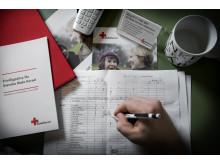 Röda Korsets frivilliga tar emot samtal
