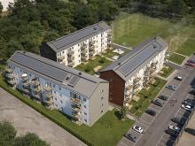 Översiktsillustration av det nya kvarteret BoKlok Travbanan i Gävle.