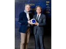 """Preisverleihung """"Marke des Jahrhunderts"""": SMG-Geschäftsführer Moritz Luft und Verleger Dr. Florian Langenscheidt"""