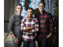 Dessertmästarjuryn Sebastien Boudet, Roy Fares och Magnus Johansson skapar ett sött och inspirerande julbord i Dessertmästarnas jul. Foto: Magnus Selander/Kanal 5