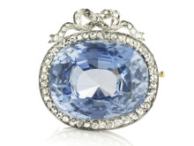 Russisk Fabergé safir- og diamantbroche
