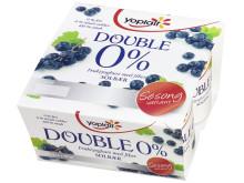 Yoplait Double 0% yoghurt med sesongens smak av solbær