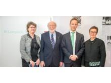 Dr. Campbell besöker MSD. Från vänster: Annmargret Tallberg, Direktör Regulatorsiska enheten, Jacob Tellgren, VD, MSD Sverige, Katrin Moeschlin, Forskningsdirektör, MSD Sverige.