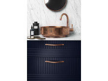 Handtag SWELL Copper / Front PARALLELS Infinity Blue / Handfat SUPERSINK Copper / Blandare TAPWELL EVO Copper