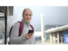 Resenär med FRAM-app