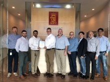 The KONGSBERG and Tidewater Marine Project Team celebrate the signing of their landmark contract at Kongsberg Maritime's Singapore headquarters