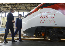 Japanese Prime Minister Shinzo Abe and UK Prime Minister David Cameron visit Hitachi Train Maintenance Centre