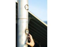 Temp- och tryckgivare vid Solör Bioenergis fjärrvärmeanläggning i Odensbacken