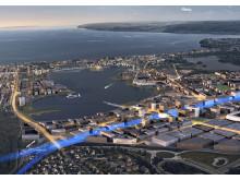 Bild 1. Södra Munksjön visionsbild flygbild