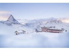 Riffelhaus 1853 mit Matterhorn im Hintergrund