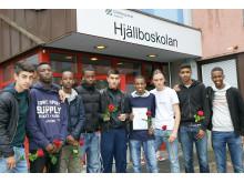 Adar, Mehdi, Salman, Liban, Zana, Mohamed, Aldin, Omar och Abdirahman (samt Jacqub, Alen och Ahmed som inte var med på bilden) blev årets ambassadörer i fotboll på Hjällboskolan för sin fina sportsmanna-anda