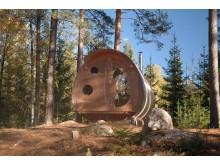 Skogskojan Oddis Öga på Näsets Marcusgård i Furudal, Dalarna
